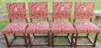 SOLD - Set of Six Oak Cromwellian Style Upholstered Dining Chairs